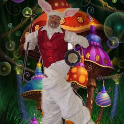 Bouncy white Rabbit on Stilts