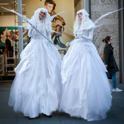 White Ice Fairy Stilt Walkers
