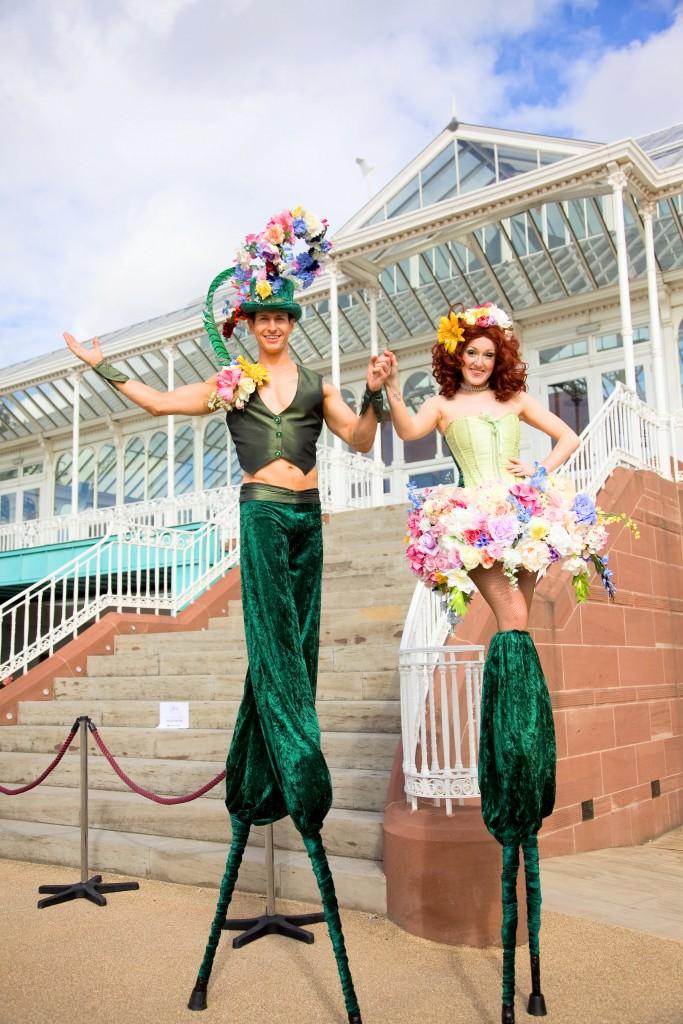 Spring Bouquet Stilt Walkers - Flaming Fun Event Entertainment Agent