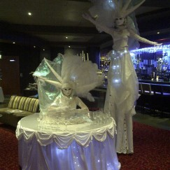 Porclin Table and Stilt Costume