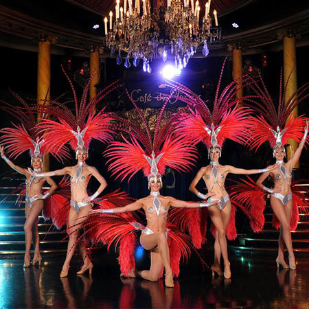 Feathered Vegas Show Girl Dancers Flaming Fun Event